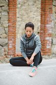 Pensive Tired Fitness Woman poster