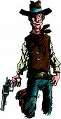 picture of sixgun  - Intense cowboy illustration with a six gun - JPG