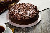 Homemade Dark Chocolate Truffle Cream Cake poster