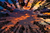 Silhouette Of The Antenna Of Cellular Cell Phone And Communication System Tower With Beautiful Sunse poster