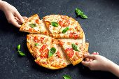 Taking Slice Of Pizza Margherita poster