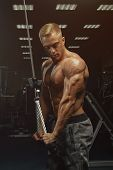 Confident Handsome Athletic Bodybuilder Workout Triceps Pushdown Rope Attachment poster