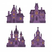 Four Halloween Buildings Flat Illustration. Witch Hut, Haunted House, Vampire Castle And Cemetery Ch poster