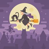 Old Witch Flying On A Broom With A Black Cat Over The Night City. Trick Or Treat. Halloween Flat Ill poster