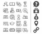 Education Line Icons. Book, Video Tutorial. poster