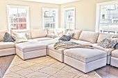 Loft Interior Space Of Modern Apartment, House Or Home With Staging Of Large Beige, Neutral White Co poster