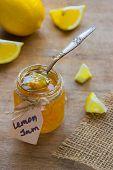 Homemade Lemon Jam In Glass Jar. Organic Fresh Yellow Jam poster