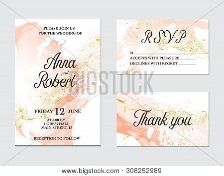 poster of Trendy Greeting Card Set With Watercolor Liquid Flow. Tender Ink Art With Gold Glitter Splashes. Bea