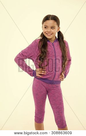 poster of Working Out With Long Hair. Girl Cute Kid With Long Ponytails Wear Sportive Costume Isolated On Whit