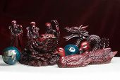 image of glass frog  - Feng Shui Statues in red and black - JPG