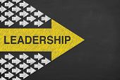 Leadership Concepts On Chalkboard Background Business Concepts poster