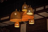 Wicker Lamps On The Ceiling, Handmade Chandelier, Decorative Lamps poster
