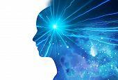 Silhouette Of Virtual Human With Aura Chakras On Space Nebula , Represent Meditation,yoga  And Deep  poster