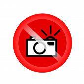 No Flash Sign (no Flash Photo Icon, No Photography With Flash Sign). Red Forbidding Symbol For Makin poster