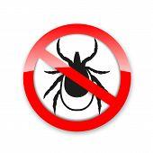 Ticks Stop Sign. Mite Warning Sign. Encephalitis Parasite Icon. Vector Illustration Of Tick Warning  poster