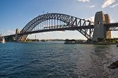 stock photo of assis  - Wide Angle view of Sydney Harbour Bridge - JPG