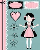 stock photo of lolita  - cute girl with vintage style design elements - JPG