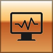 Black Computer Monitor With Cardiogram Icon Isolated On Gold Background. Monitoring Icon. Ecg Monito poster