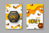 Paper Cut Style Posters With Bee And Honeycomb. Typographic Design For Beekeeping And Honey Product. poster
