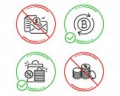 Do Or Stop. Shopping Bags, Accounting Report And Refresh Bitcoin Icons Simple Set. Banking Money Sig poster