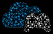 Glossy Mesh Cloud Game Controller With Glow Effect. Abstract Illuminated Model Of Cloud Game Control poster