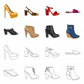 Bitmap Design Of Footwear And Woman Icon. Set Of Footwear And Foot Stock Bitmap Illustration. poster