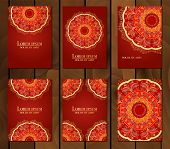 Collection Of Ethnic Cards, Menu Or Wedding Invitations With Indian Ornament. Vintage Decorative Rou poster