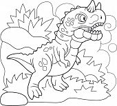Cartoon Prehistoric Dinosaur Carnotaurus, Coloring Book, Funny Illustration poster