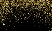 Vector Gold Glitter Particles Background Effect For Luxury Greeting Rich Card. Golden Rain Isolated  poster