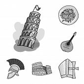 Country Italy Monochrome Icons In Set Collection For Design. Italy And Landmark Bitmap Symbol Stock  poster