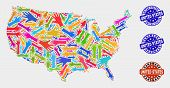 Vector Handmade Combination Of United States Map And Grunge Seals. Mosaic United States Map Is Compo poster