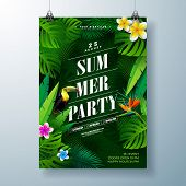 Summer Party Flyer Design With Flower, Tropical Palm Leaves And Toucan Bird On Green Background. Vec poster