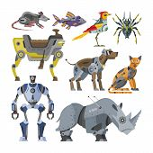 Robots Vector Cartoon Robotic Kids Toy Animal Character Cat Dog Robotics Monster Transformer Cyborg  poster