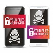 Cracking Smartphone With Pirate Malware Set . Padlock And Text On Banner And Skull Of Death On Scree poster