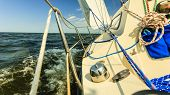 Yachting Yacht Sailboat Sailing In Baltic Sea, Summer Vacation. Tourism Luxury Lifestyle. Toned Imag poster