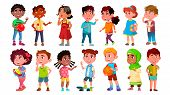 Multicultural Characters Children Kids Set . Design Collection Of International Asian, African, Euro poster
