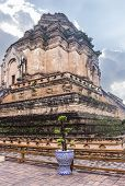 Bottom View Of The Iconic Sri Lanka-style Stupa Of Wat Chedi Luang During A Bright But Cloudy Day. C poster