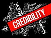 Credibility Word Cloud Collage, Business Concept Backgroun poster