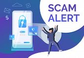 Scam Alert Poster Template. Hacker Keeping Hands Up. Cybercrime Failure Concept. Vector Illustration poster