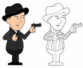 pic of mobsters  - Mobster holding revolvers illustration coloring book line - JPG