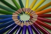 Closeup Colorful Pencil On Green Paper Background. Macro Of A Group Pencils Folded In Rainbow Colors poster