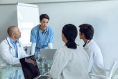Front view of standing female Caucasian nurse talking to attentive diverse medical team sitting at t poster