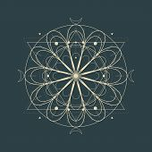 Mystical Geometry Symbol. Linear Alchemy, Occult, Philosophical Sign. For Music Album Cover, Poster, poster