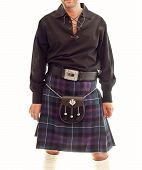 pic of kilts  - Traditional Scottish outfit consisting of kilt and sporran - JPG