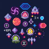 Pixel Game Icons Vector, Planet And Spaceship, Aliens In Uniforms. Hourglass And Button, Transport A poster