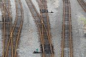stock photo of railroad yard  - Railroad tracks - JPG
