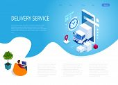 Isometric Logistics And Delivery Concept. Delivery Home And Office. City Logistics. Warehouse, Truck poster
