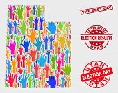 Election Utah State Map And Seals. Red Rectangle The Best Day Scratched Seal. Colored Utah State Map poster