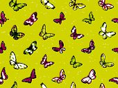 pic of inchworm  - Seamless vector highly detailed background with butterflies in summer colors - JPG