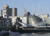 foto of coexist  - In London old and modern coexist in harmony view of south bank of Thames - JPG